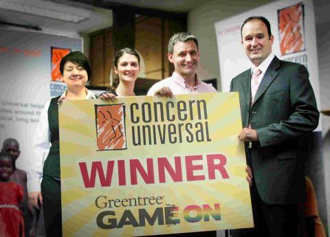 Viv Mair (services & systems), Alexandra Sherry (communications), Ian Williams (Concern Universal executive director) with Harry Mowat (Greentree UK managing director)