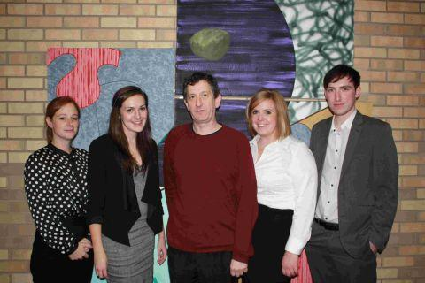 David Chalk (centre) with award-winning students (l to r) Amy Gallagher, Steph Brown, Kate Garrett and James Stephens