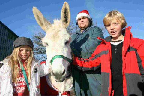 Visitors Coco and Jacob Skagerlind meet a Christmas donkey along with student volunteer Elliott Fendle