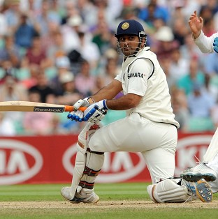 Skipper Mahendra Singh Dhoni, pictured, went into lunch on a 75-run stand with Virat Kohli