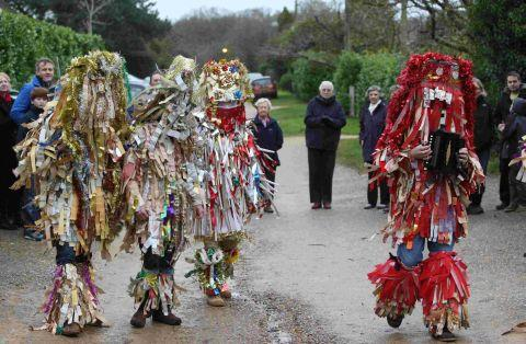 Mummers perform their traditional play in Otterbourne