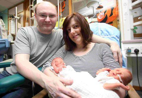 Rob and Karen Convery with twins Charlie and George, one of five sets to be born at Royal Hampshire County Hospital within a week