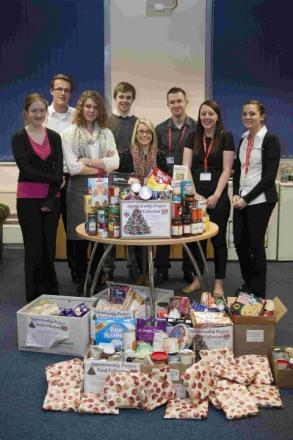 The city council team of apprentices helped collect food and toiletries for Winchester Basics Bank last month