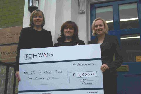 Hampshire Chronicle: (L-r) Suzanne Foster (Trethowans), Jane Wilmshurst (the Joe Glover Trust) and Bethany Blamire (Trethowans).