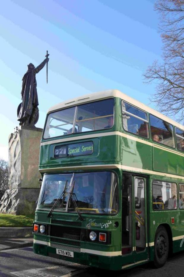 A classic bus in The Broadway at the 2013 Friends of King Alfred bus running day