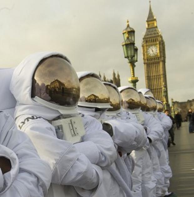 Astronauts line up in central London to launch The Lynx Space Academy competition (James McCauley/Lynx Space Academy /PA Wire)