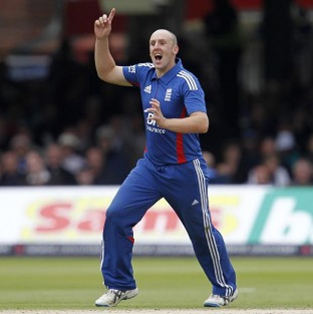 James Tredwell claimed career-best figures of four for 44 in the nine-run win in Rajkot