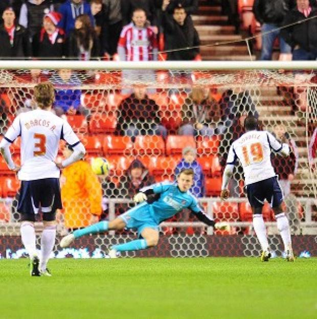 Marvin Sordell, right, scored a second-half brace at Sunderland to see Bolton progress