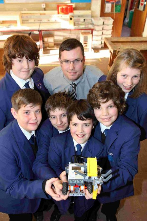 The Swanmore College of Technology robot team with teacher David Hedicker