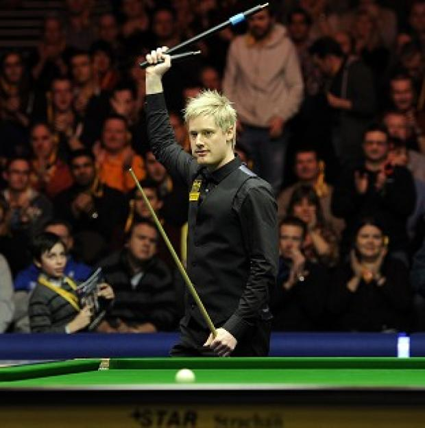 Neil Robertson, pictured, scored two century breaks against Shaun Murphy