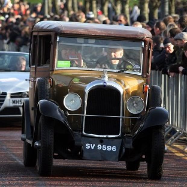 Drivers get ready to set off on the Monte Carlo Classic Rally from Glasgow Green