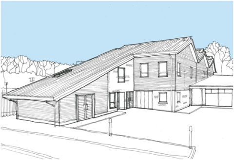 An architecht's drawing of what the extension will look like at Emmaus Hampshire in Bar End