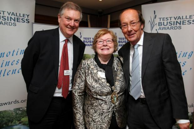 Fred Dinenage with Test Valley Borough Council economic development officer David Gleave and Cllr Dorothy Baverstock.