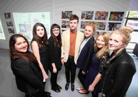 Hampshire Chronicle: The event was organised by fashion marketing students, left to right, Kimren Phesi, Becky Harris, Louisa Kimmins, Craig Ramsey, Emma Cooper, Chloe Studd and Jessica Shuttleworth