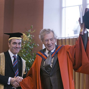 Sir Ian McKellen, who delivered the Chancellor's Lecture at the University of Ulster, and actor James Nesbitt (University of Ulster/PA)