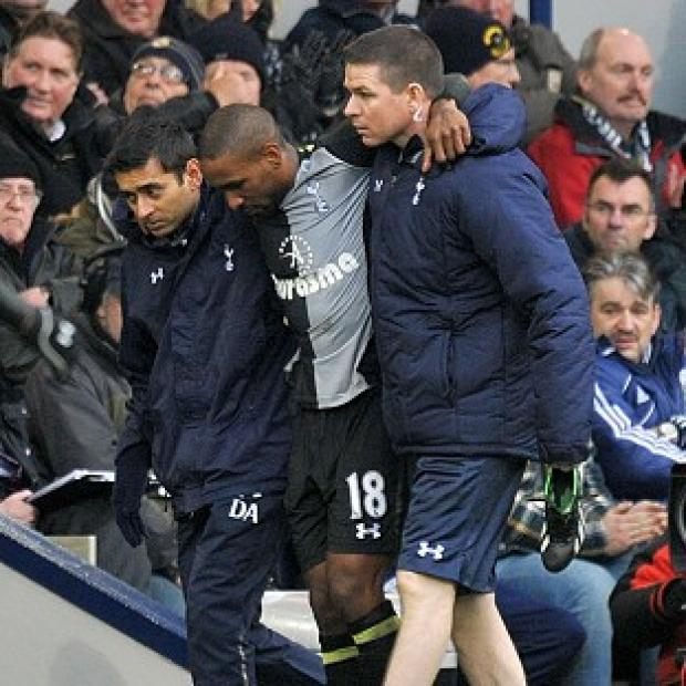 Jermain Defoe, centre, picked up an injury during Tottenham's win over West Brom