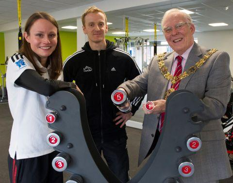 From left, athlete Louise Damen, studio manager Alastair Crew and Winchester Mayor Cllr Frank Pearson. By Professional Images.