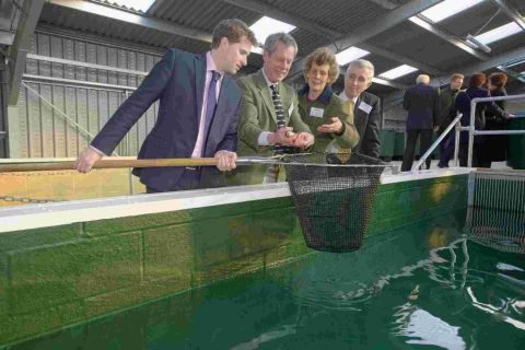 (L-r) Steve Brine, Robert Hughes, Caroline James, fishery studies learning manager and Tim Jackson, Sparsholt College principal, examine the new facility