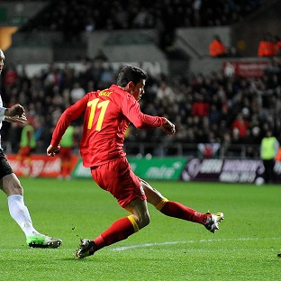 Gareth Bale scores the opening goal for Wales against Austria