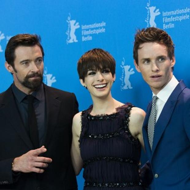 Hugh Jackman, Anne Hathaway and Eddie Redmayne launch Les Miserables at the Berlin film festival (AP)