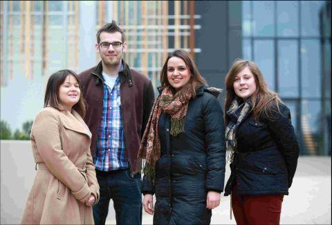 Hampshire Chronicle: Lecturer Glenn Fosbraey with students, left to right, Itor Megan Ball, Shannon Harris and Paige Marchmant
