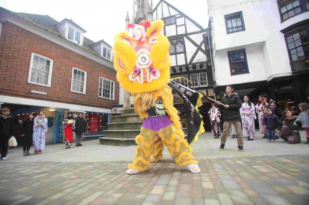 Hampshire Chronicle: The celebrations featured a traditional lion dance in the High Street.