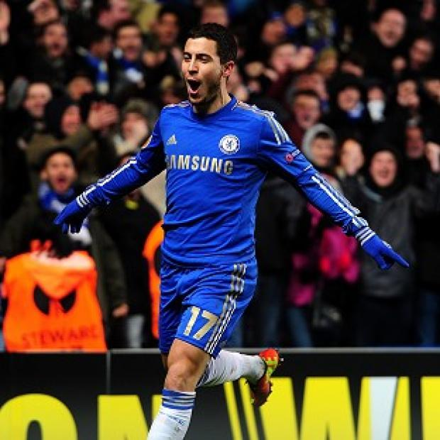 Eden Hazard celebrates scoring the equaliser for Chelsea against Sparta Prague