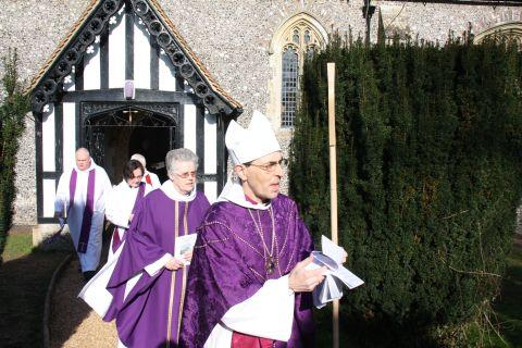 Hampshire Chronicle: The Rt RevTim Dakin conducted a celebration and re-dedication of East Stratton's All Saints' Church.