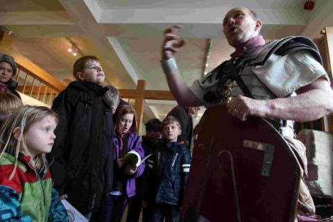 A Roman soldier tells children of his experiences in the army at the City Museum