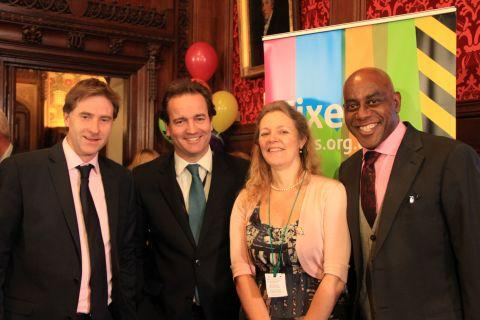 Winchester MP Steve Brine with Minister for Civil Society, Nick Hurd, PSBT chief executive Margo Horsley and Ainsley Harriott at the Fixers launch
