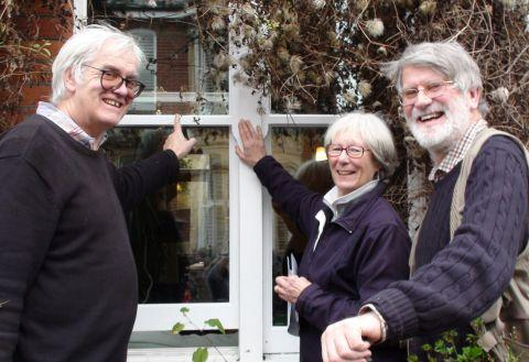 Green house owner Phil Gagg with Angela Sealey and David Knight of WinACC