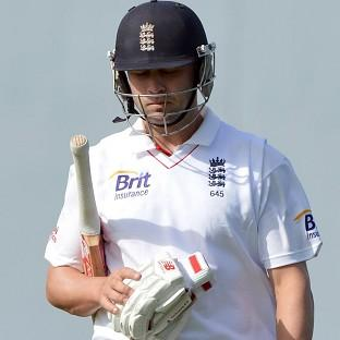 England's Jonathan Trott leaves the field after scoring 121 runs during day two of the second Test