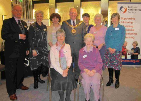 Mayor of Winchester Frank Pearson (centre) and the Winchester Osteoporosis Support Group committee