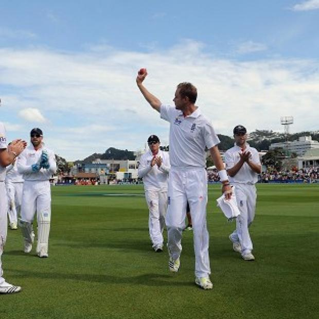 England's Stuart Broad acknowledges the crowd after taking six wickets during day three of the Second Test