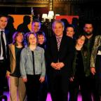 Blue Apple actors with Steve Brine (left), speaker of the Commons John Bercow and Jane Jessop (right)