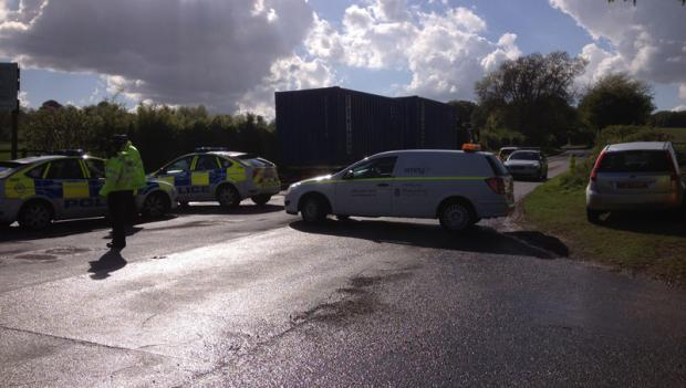 The scene of the collision in Stockbridge Road, Sparsholt, on Wednesday, May 15