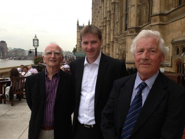 Michael Carden (left) with Steve Brine MP and City of Winchester Trust chairman Keith Leaman