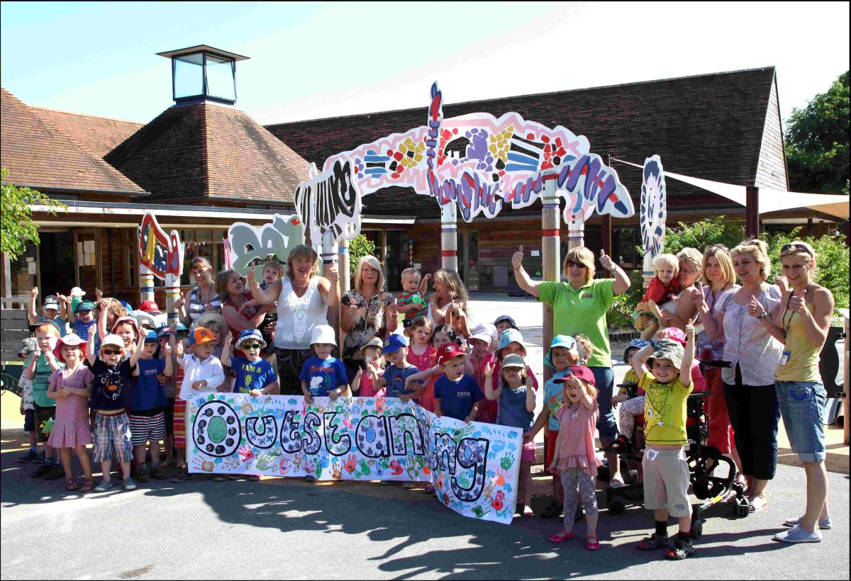 Staff and pupils at Lanterns Nursery School celebrate their 'outstanding' Ofsted results