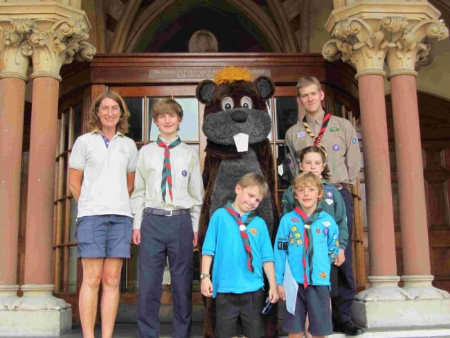 Scouts and beaver representatives at the Guildhall with mascot, Chip