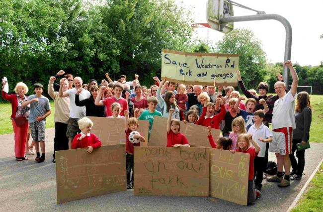 Weeke residents campaigning to save Westman Road playground earlier this year