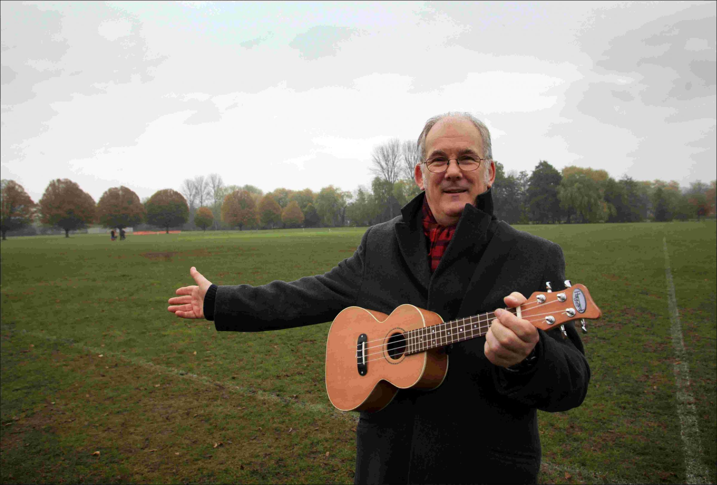 Campaigner, Andy Martin, has written a song protesting about the council's proposal to develop on River Park. Photo by Paul Collins