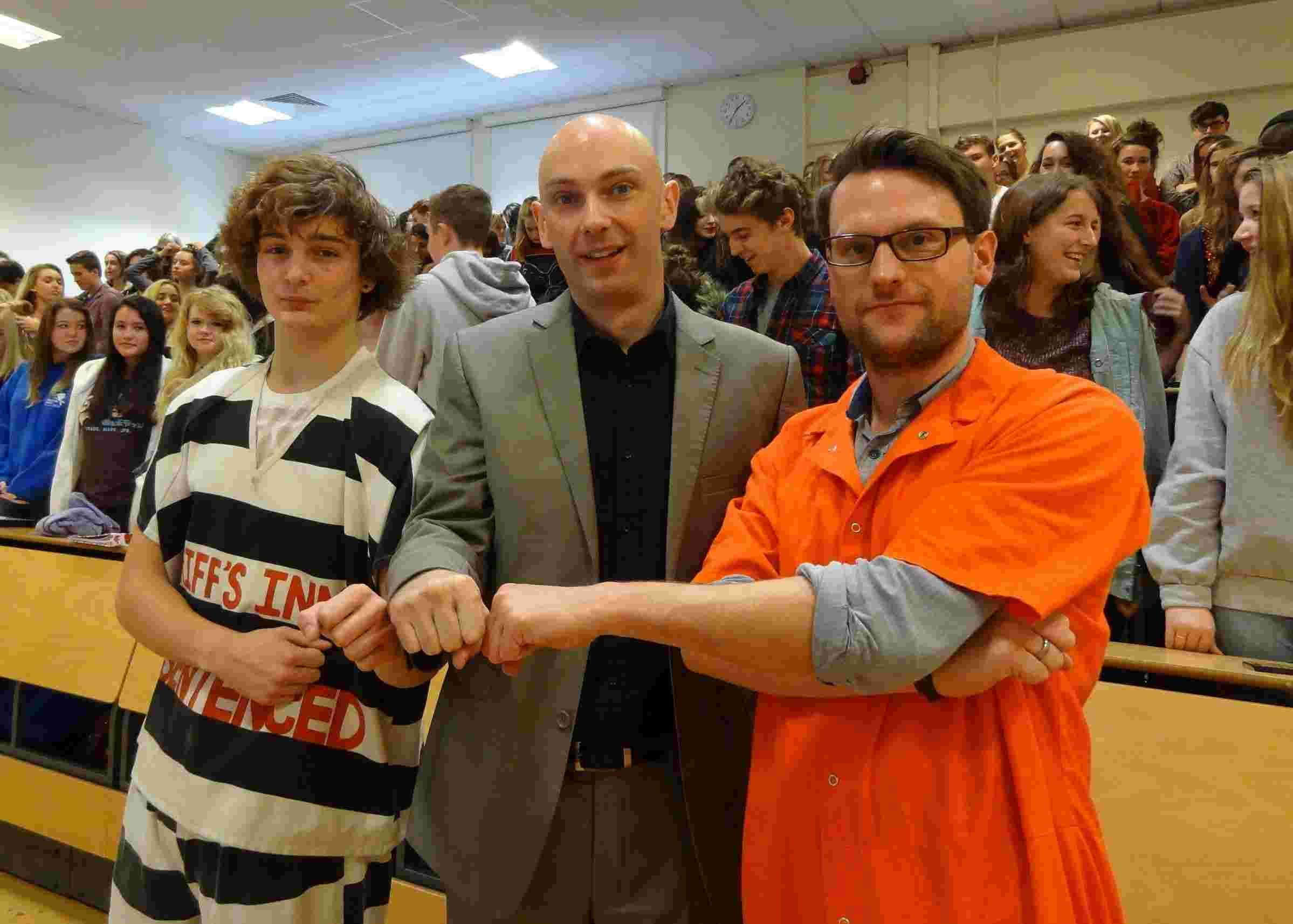 Sociology student Morgan Mitchell (left) and media lecturer, Chris Horton (right) with Shaun Attwood (centre)