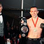 Hampshire Chronicle: Richard Buskin after winning the lightweight UFW champion belt