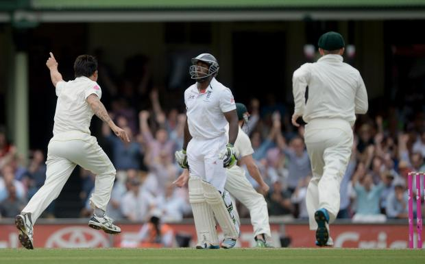 Michael Carberry is dismissed by Mitchell Johnson at Sydney