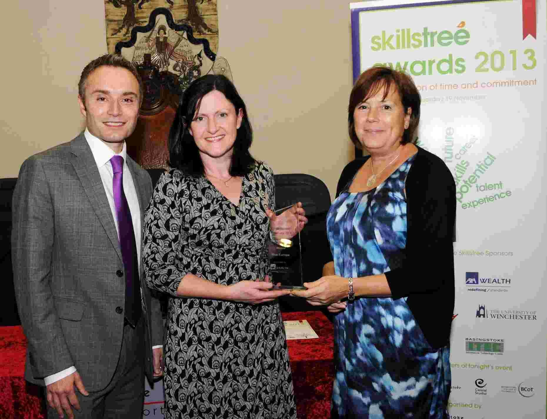 BBC South Today presenter David Allard with Nicola Law from VISA Europe, which won the Business Supporting Enterprise and Work Related Learning Award, and Carel Rose, from award sponsor AXA Wealth