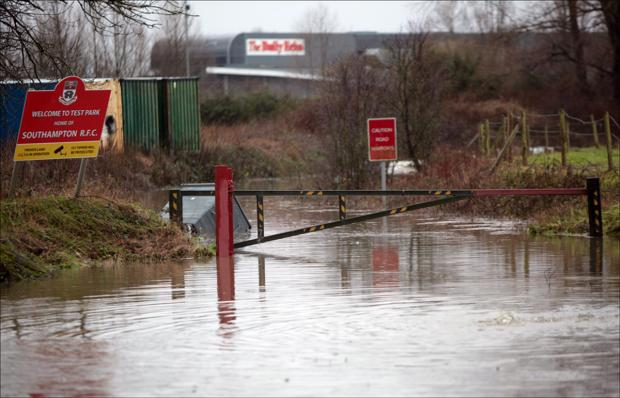 The flooded entrance to Southampton Rugby Club.