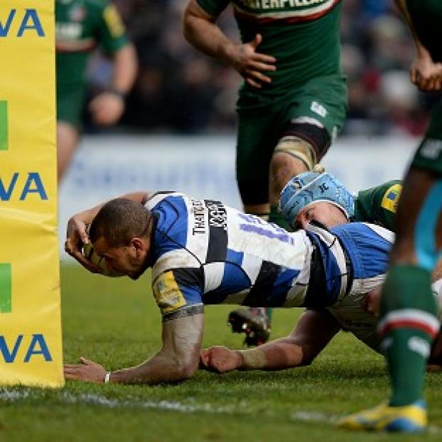 Hampshire Chronicle: Jonathan Joseph dives in to score a try