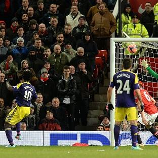 Wilfried Bony, left, heads in the winner at Old Traffor