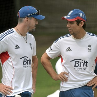 Alastair Cook, right, refused to be talk about Kevin Pietersen's, left, England future