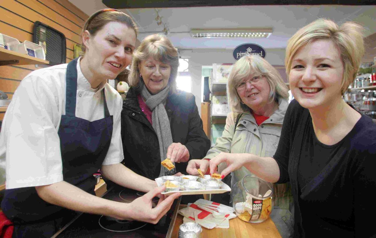 Alicia Storey (left) held cooking demonstrations at Etiquette cook shop on Satuday (January 11) teaching Susan Oldrieve, Linda Oldrieve and Nicola Oldrieve.